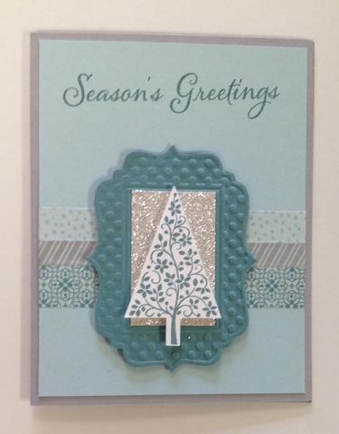 Season's Greetings Lagoon & Silver Glitter